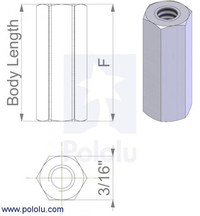 "Aluminum Standoff: 1/2"" Length, 4-40 Thread, F-F (4-Pack) POLOLU-2091 Pololu Australia - Express Delivery Australia Wide (Image 2)"