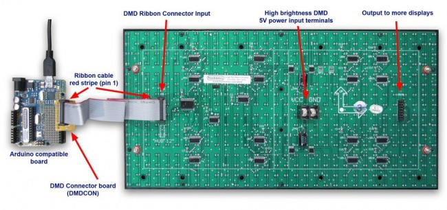 Freetronics DMD: Dot Matrix Display 32x16 Red CE04485 Freetronics Australia (Image 2)