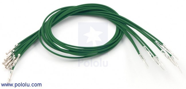 "Wires with Pre-crimped Terminals 10-Pack M-F 12"" Green POLOLU-1855 Pololu Australia - Express Delivery Australia Wide (Image 1)"