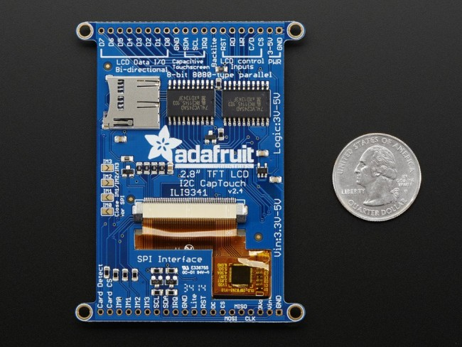 2.8 TFT LCD with Cap Touch Breakout Board w/MicroSD Socket ADA2090 Adafruit in Australia - Express Delivery Australia Wide (Image 4)