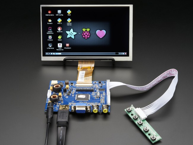 HDMI 4 Pi: 7 Display & Audio 1024x600 - HDMI/VGA/NTSC/PAL ADA2301 Adafruit in Australia - Express Delivery Australia Wide (Feature image)
