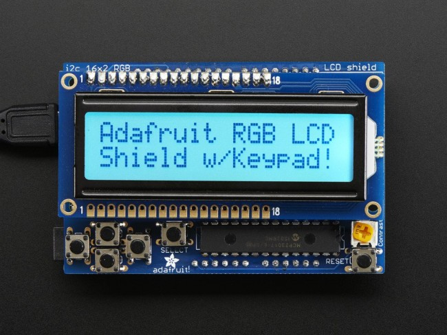 RGB LCD Shield Kit w/ 16x2 Character Display - Only 2 pins used! - POSITIVE DISPLAY ADA716 Adafruit Australia (Image 1)