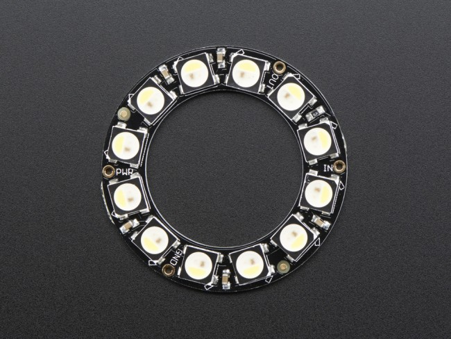 NeoPixel Ring - 12 x 5050 RGBW LEDs w/ Integrated Drivers - Cool White - ~6000K ADA2853 Adafruit in Australia - Express Delivery Australia Wide (Image 2)