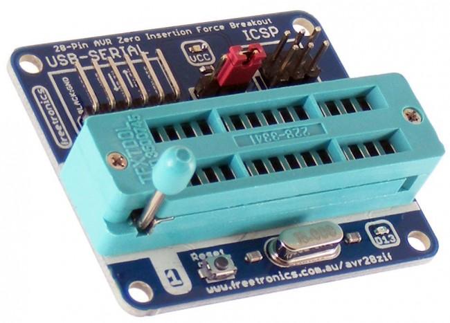 Freetronics Zero Insertion Force (ZIF) Breakout for 28-Pin AVR CE04529 Freetronics Australia (Feature image)