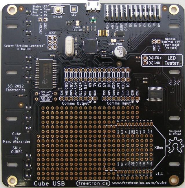 Freetronics 4x4x4 RGB LED Cube Controller Board CE04524 Freetronics Australia (Feature image)