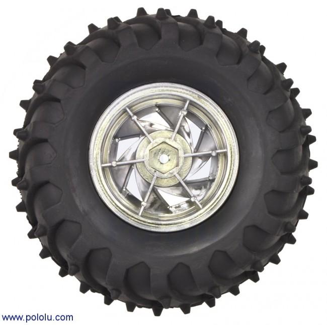 Dagu Wild Thumper Wheel 120x60mm Pair with 4mm Shaft Adapters - Chrome POLOLU-1557 Pololu Australia - Express Delivery Australia Wide (Image 3)