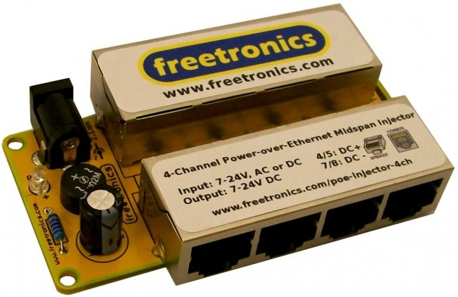 Freetronics 4-Channel Power-over-Ethernet Midspan Injector CE04497 Freetronics Australia (Feature image)