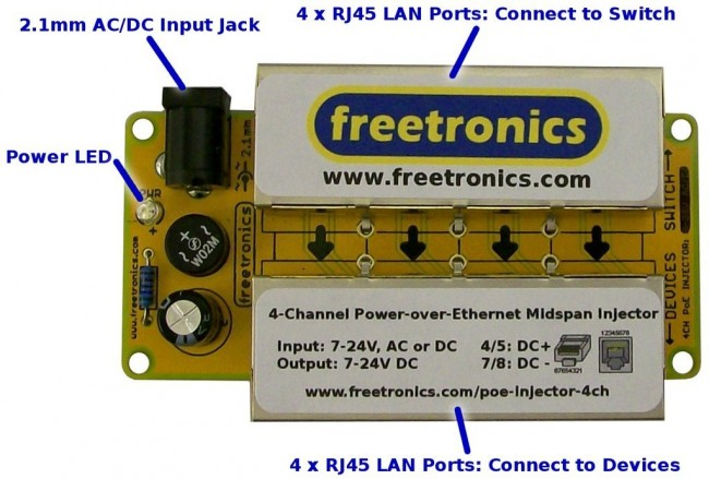 Freetronics 4-Channel Power-over-Ethernet Midspan Injector CE04497 Freetronics Australia (Image 2)