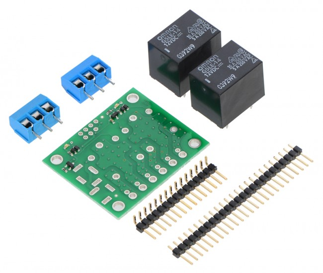 Pololu Basic 2-Channel SPDT Relay Carrier with 12VDC Relays (Partial Kit) POLOLU-2488 Pololu Australia - Express Delivery Australia Wide (Feature image)