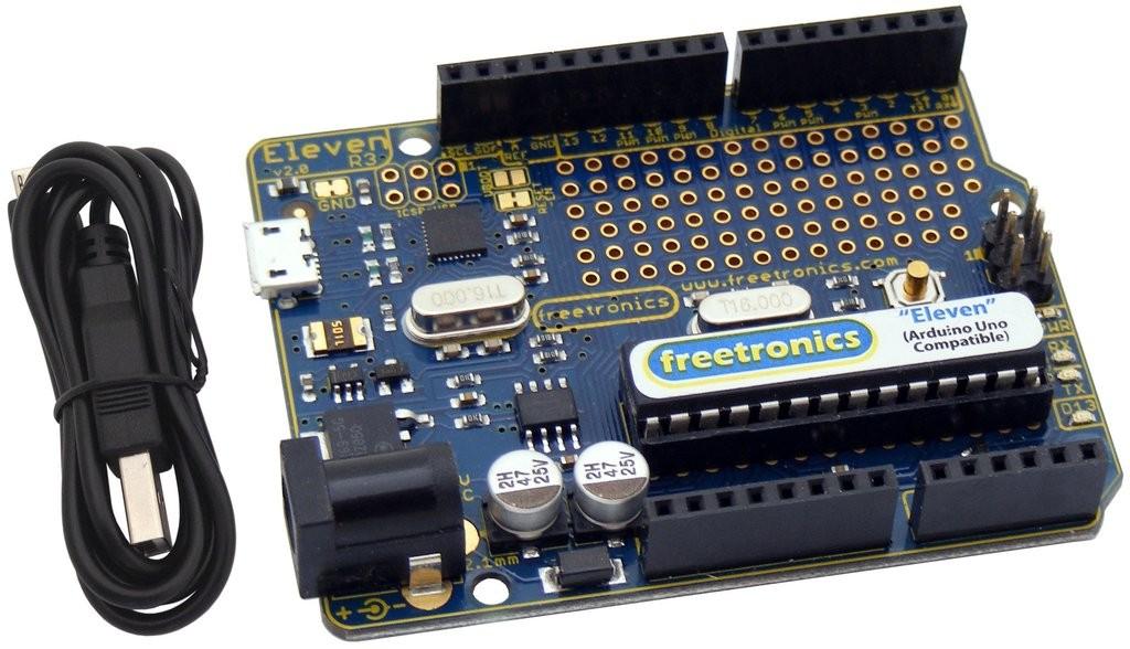 Freetronics Eleven (100% Arduino Uno Compatible) CE04486 Freetronics Australia (Feature image)