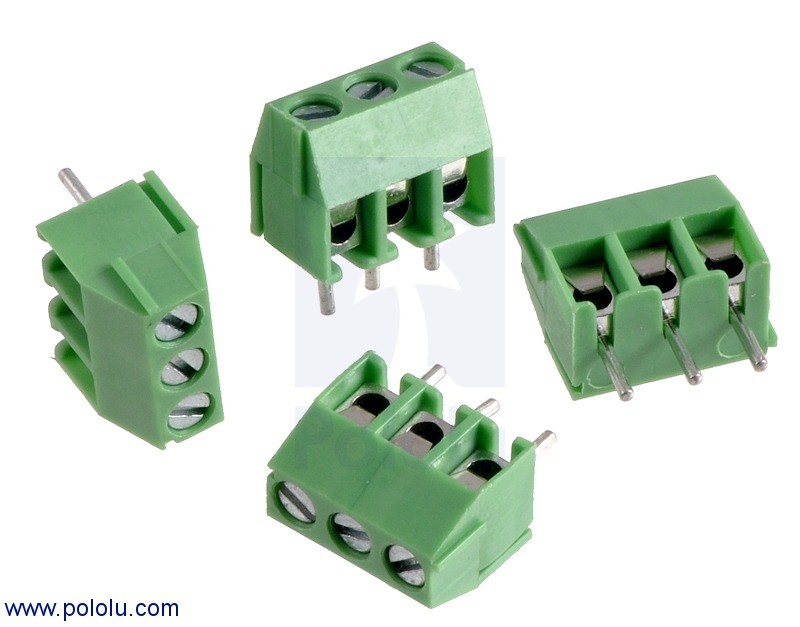 Screw Terminal Block: 3-Pin, 3.5 mm Pitch, Side Entry (4-Pack) POLOLU-2445 Pololu Australia - Express Delivery Australia Wide (Feature image)