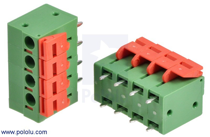 "Screwless Terminal Block: 4-Pin, 0.2"" Pitch, Top Entry (2-Pack) POLOLU-2437 Pololu Australia - Express Delivery Australia Wide (Feature image)"