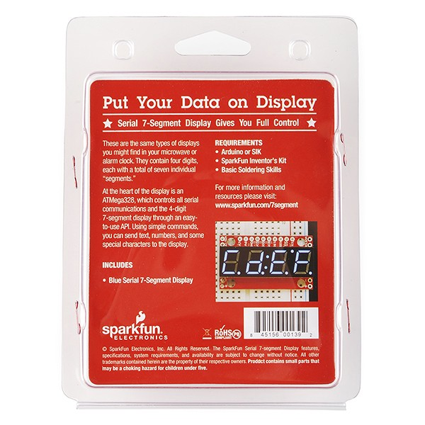 Serial 7-Segment Display (Blue) - Retail RTL-11381 Sparkfun Australia - Express Delivery Australia Wide (Image 3)