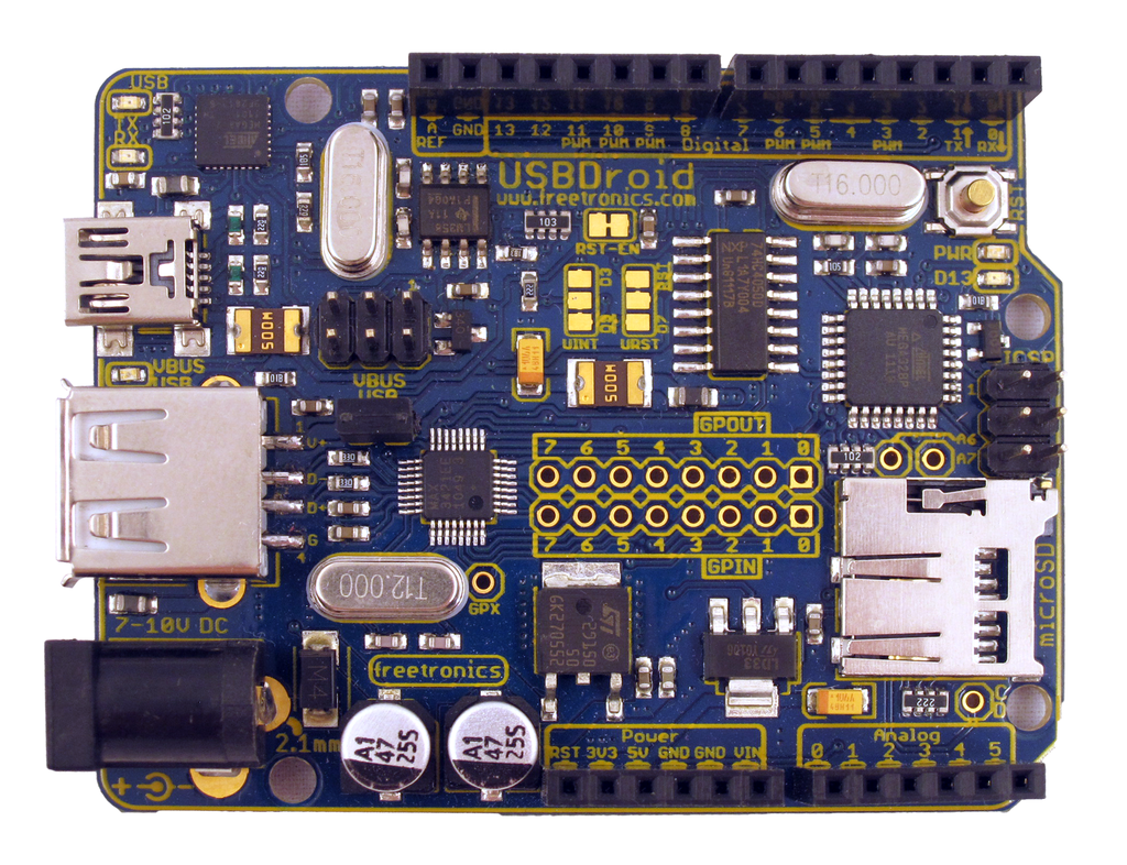 Freetronics USBDroid (Arduino Uno compatible with onboard Android/USB Host) CE04488 Freetronics Australia (Image 2)