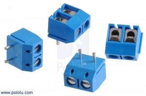 Screw Terminal Block: 2-Pin, 5 mm Pitch, Top Entry (4-Pack) POLOLU-2442 Pololu Australia