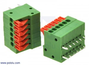 "Screwless Terminal Block: 6-Pin, 0.1"" Pitch, Side Entry (2-Pack) POLOLU-2424 Pololu Australia"