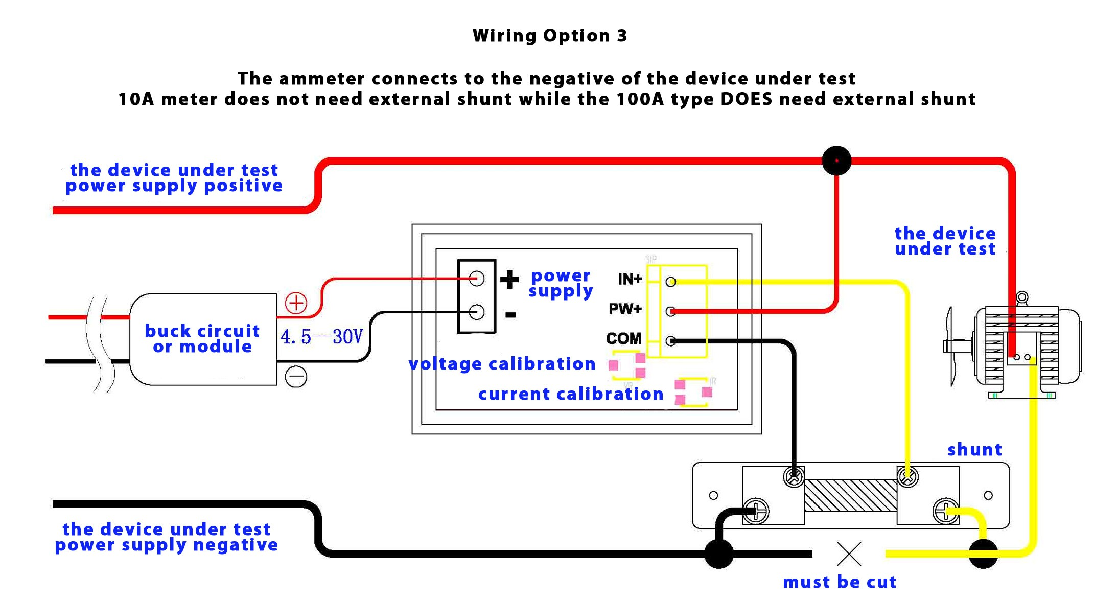 option3 dual digital display dc voltmeter & ammeter 0 100v 0 10a australia dc ammeter shunt wiring diagram at virtualis.co