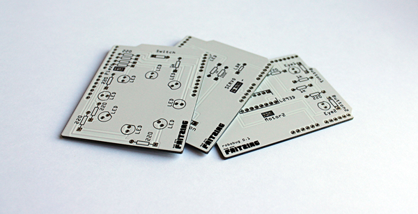 An image of some example PCBs that were made using the Fritzing Fab service